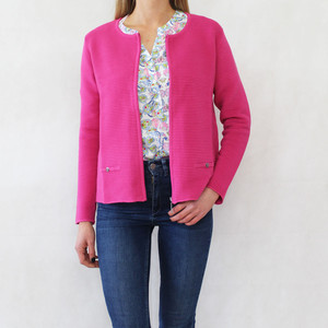 Twist Fushia Zip Rib Jacket
