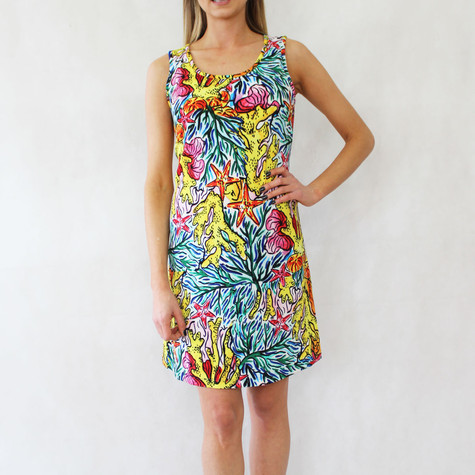 Ronni Nicole Yellow Multi-Colour Round Neck Dress