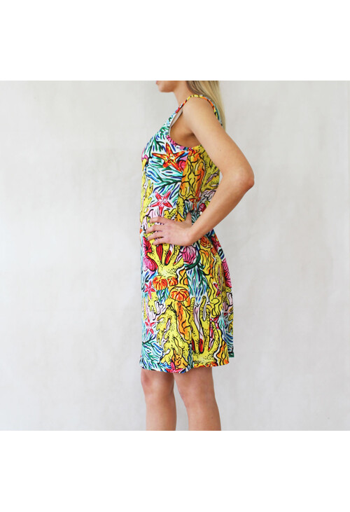 Ronni Nicole Yellow Multi-Colour Round Neck Dress