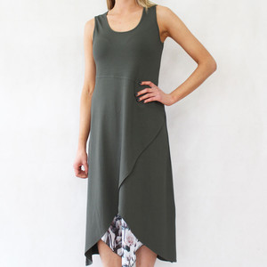 SophieB Khaki Long Sleeveless Dress