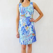 Ronni Nicole Pale Blue Multi-Colour Round Neck Dress