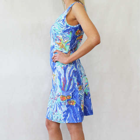 Ronni Nicole Pale Blue Multi-Colour Round Neck Dress