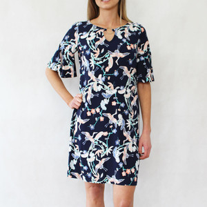 Ronni Nicole Stork Print Navy Dress