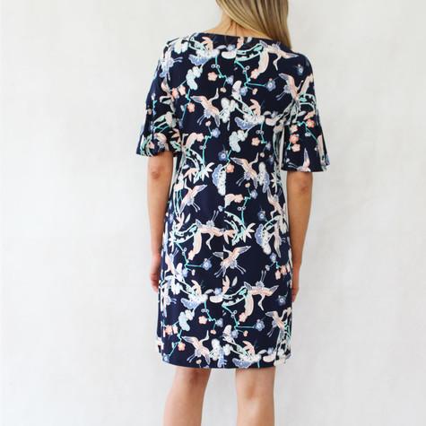 Ronni Nicole Stork Print Navy Dress