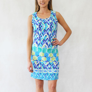 Ronni Nicole Blue & Pale Yellow Round Dress