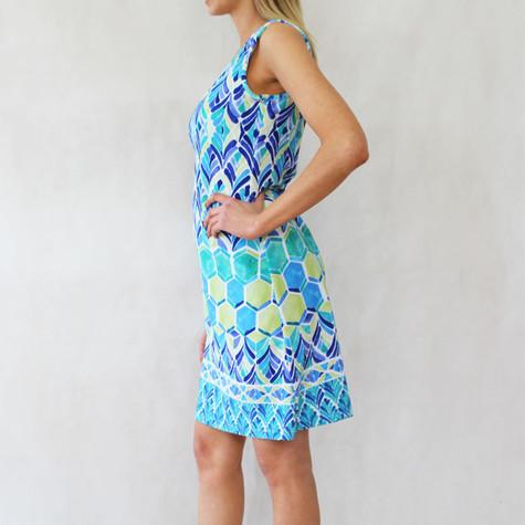 Ronni Nicole Blue & Pale Yellow Round Dress