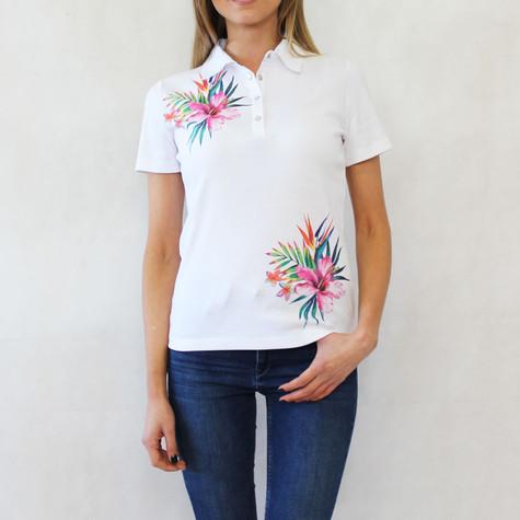 Pamela B White Flower Print Polo Top