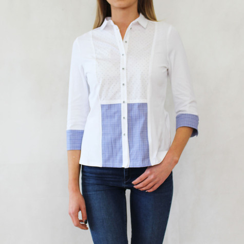 Tinta Style White Button Up Dot Print Shirt