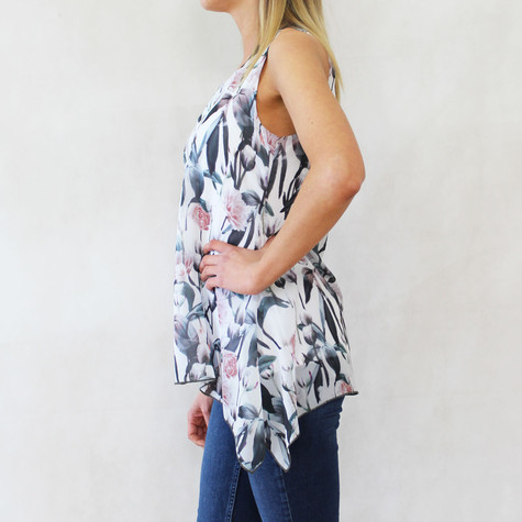 SophieB Off White Floral Sleeveless Top
