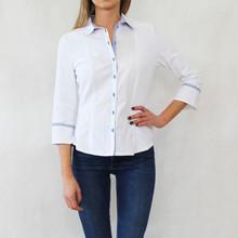 Tinta Style White Blue Trim Shirt