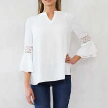 Tinta Style Cream V-Neck Lace Sleeve Top