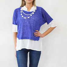 SophieB Royal Blue 2 in 1 Pearl Detail Top