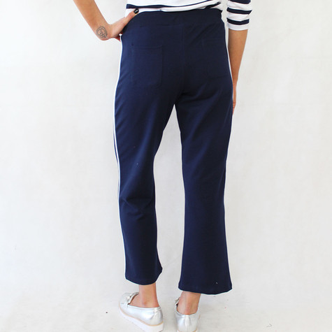 Pamela B Navy White Strip Crop Sport Joggers