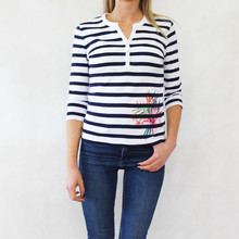 Pamela B Navy & White Stripe Flower Print Top