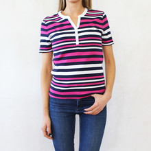 Pamela B Navy & Pink Stripe Open Neck Top