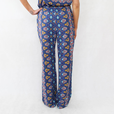 SophieB Blue & Yellow Afro Print Loose Trousers