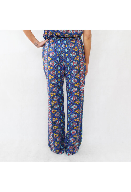 Sophie B Blue & Yellow Afro Print Loose Trousers