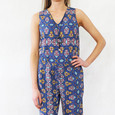 SophieB Blue & Yellow Afro Print Sleeveless Top