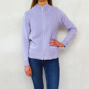 Twist Lilac Zip Up Knit