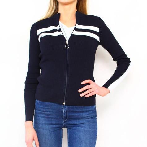 Twist Navy & White Zip Knit Top