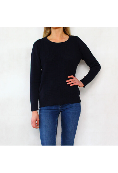 Twist New Navy 3/4 Sleeve Round Neck Knit