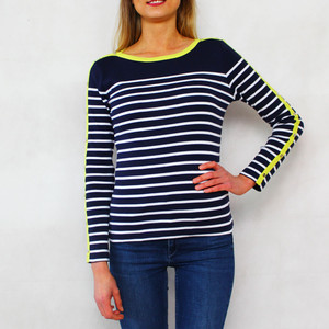 Twist Citrus, White and Navy Stripe Top