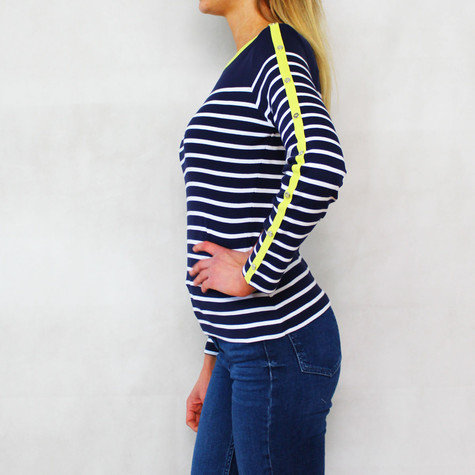 Twist Citrus, White and Navy Stripe Top