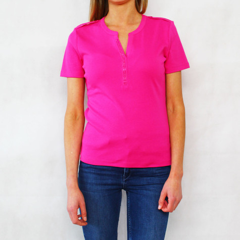 Twist Fushia Open Neck Polo Top