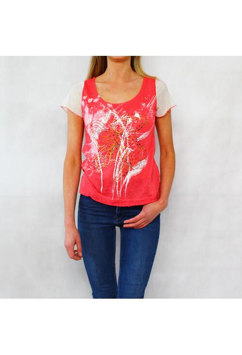 Sophie B Coral Paint Pattern Print Top