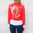 SophieB Coral Open Floral Back Pattern Knit