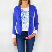 SophieB Royal Blue Open Flower Pattern Back Knit
