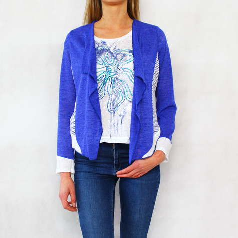 SophieB Royal Blue Open Flower Pattern Back Knit
