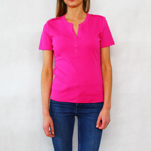 SophieB Fushia Open Diamante Short Sleeve Top