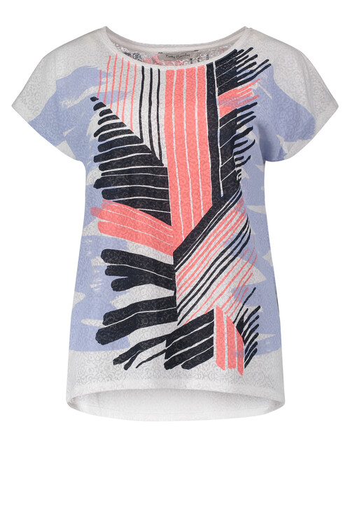 Betty Barclay Coral & Black Stripe Print Top