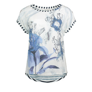 Betty Barclay  Pale Blue Flower Print White Top