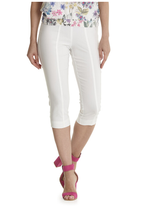 Betty Barclay White Comfortable Elasticated Waistband Trousers