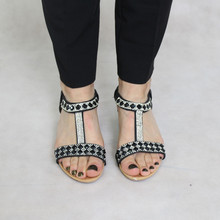 Libra Pop Black Diamante Detail Wedge Sandal