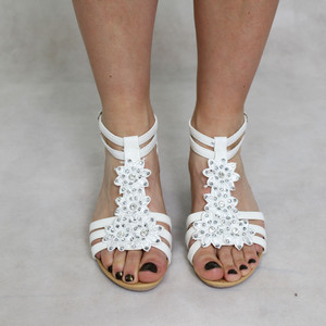Libra Pop White Floral Detail Wedge Sandals