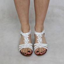 Libra Pop White Floral Detail Sandals