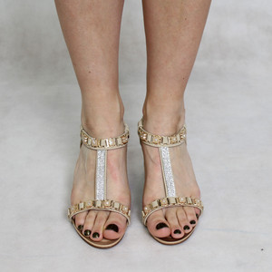 Jin Ma Beige Diamante & Gold Detail Sandals
