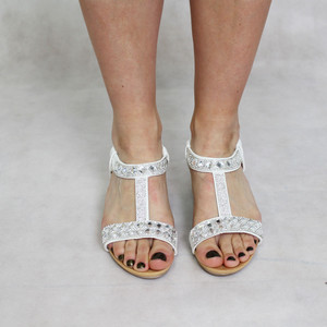 Libra Pop White Detail Diamante Sandal