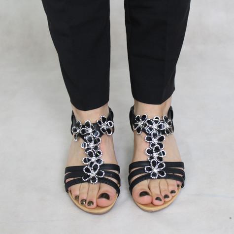 Black Floral Strap Sandals