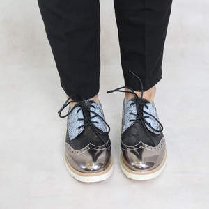 Sixth Sen Black & Silver Brogues