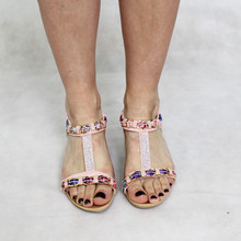 Libra Pop Pink Diamante Detail Wedge Sandal
