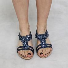 Jin Ma Navy Floral Detail Sandals