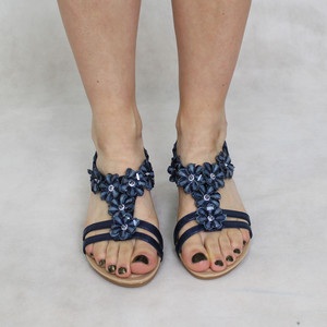 Jin Ma Navy Floral Detail Sandals