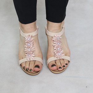 Jin Ma Pink Floral Wedge Sandal