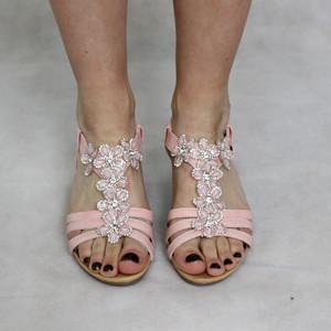 super mode Bella Pink Floral Detail Sandal