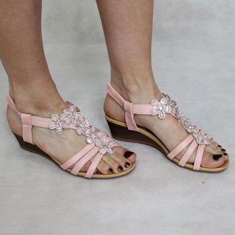 super mode Bella Pink Floral Detail Sandal