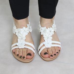 Jin Ma White Floral Detail Sandal